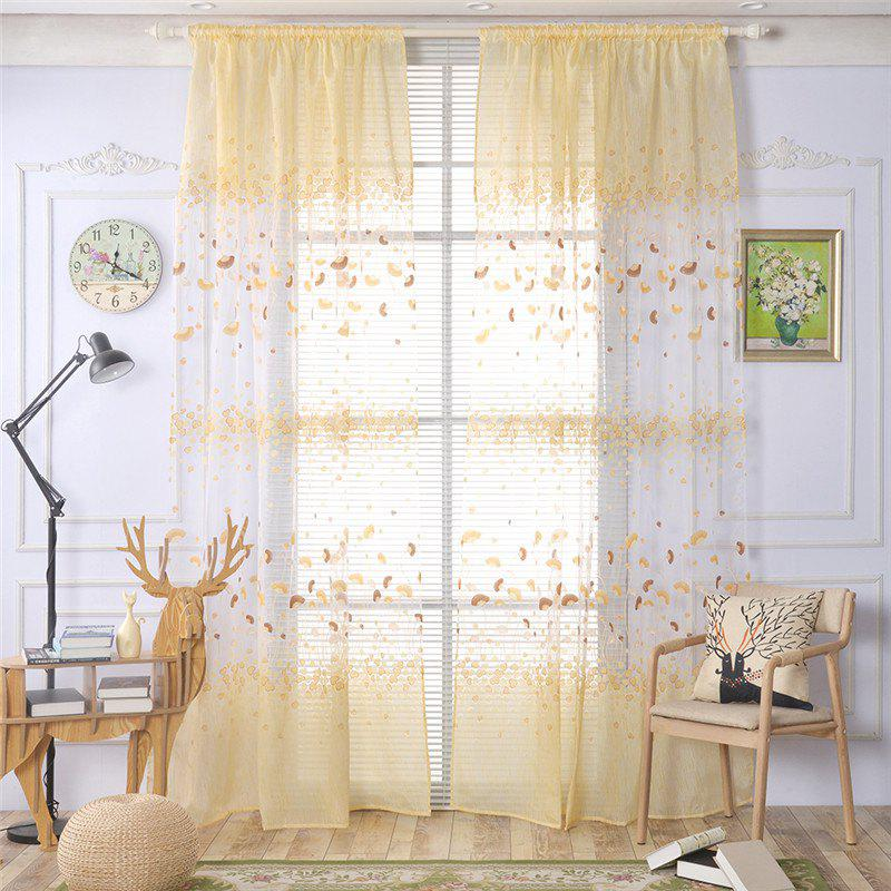 2pcs 100cm x 250cm Classic Elegant Fashion Ginkgo Leaves Floral Printed Fresh Pastoral Style Curtains - YELLOW
