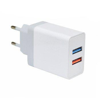 Minismile 5V 2.4A Universal Fast Charge Dual USB Port Home USB Power Travel Charger Wall Adapter - WHITE WHITE