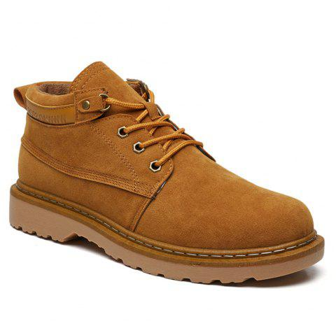 Classical Low Top Lace-up Boots for Men - YELLOW 44