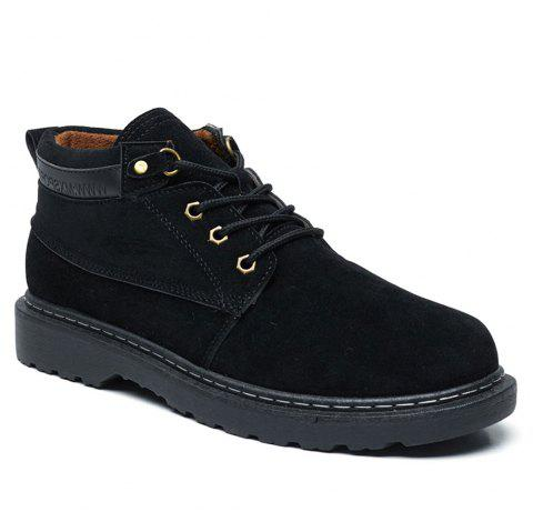 Classical Low Top Lace-up Boots for Men - BLACK 42
