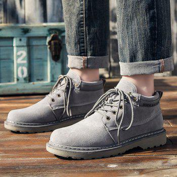 Men Classical Lace Up Outdoor Worker Boots - GRAY 40