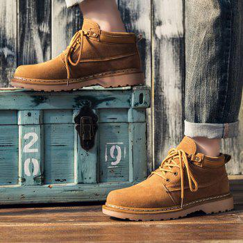 Classical Low Top Lace-up Boots for Men - YELLOW 42