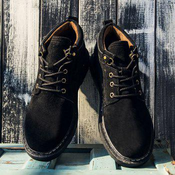 Men Classical Lace Up Outdoor Worker Boots - BLACK BLACK