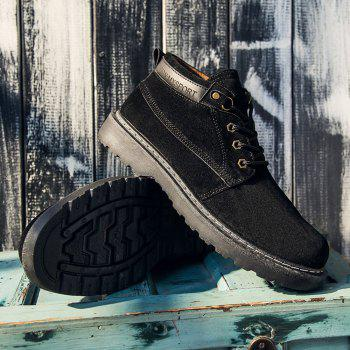 Classical Low Top Lace-up Boots for Men - BLACK 40