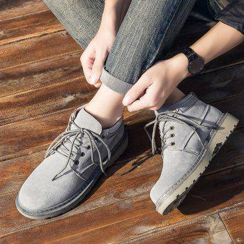 Men Classical Lace Up Outdoor Worker Boots - GRAY GRAY