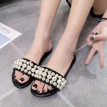 Fashion Pearl Exposed Toe Flat Bottom Anti-slip Slippers - BLACK 37