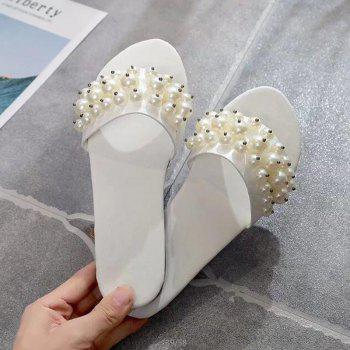 Fashion Pearl Exposed Toe Flat Bottom Anti-slip Slippers - WHITE 36