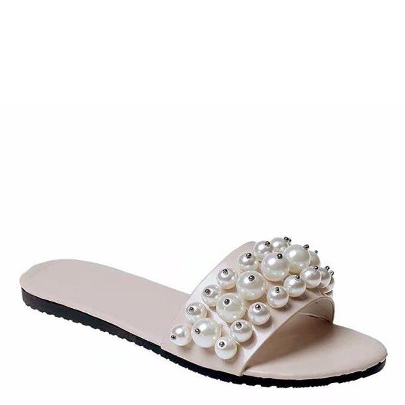 Fashion Pearl Exposed Toe Flat Bottom Anti-slip Slippers - BEIGE 38