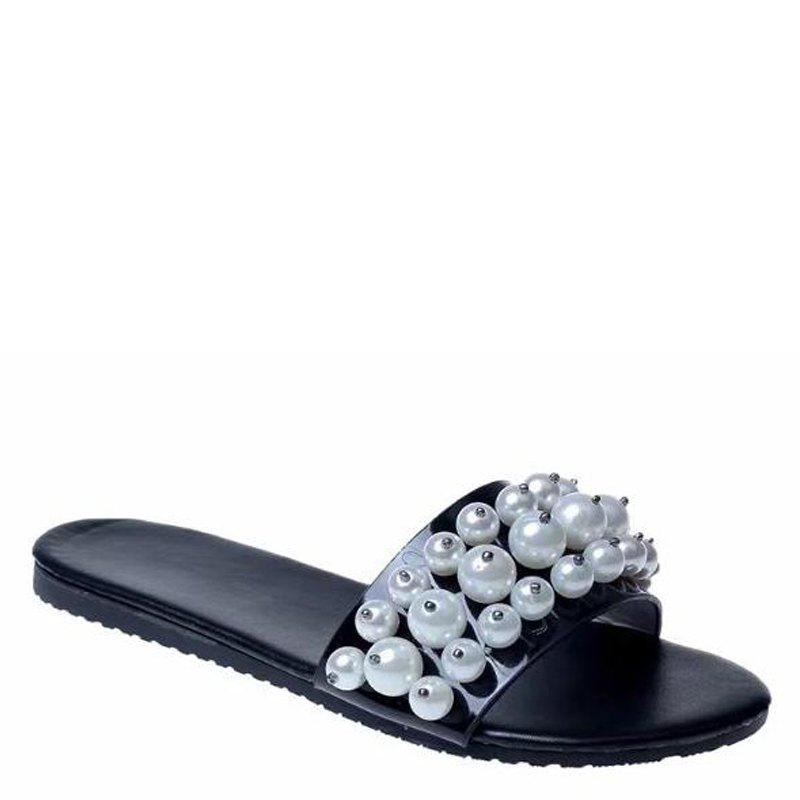 Fashion Pearl Exposed Toe Flat Bottom Anti-slip Slippers - BLACK 36
