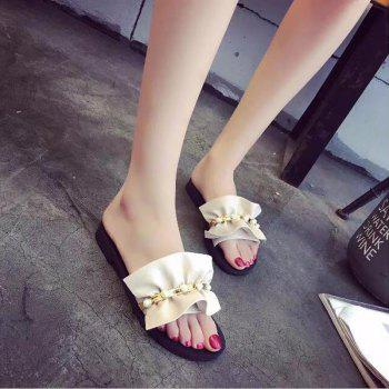 Pearl Flat Non-slip Sweet Female Fashion Slippers - WHITE WHITE