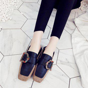Square Color Diamond Belt Buckle Color Matching Leisure Soft Bottom Shoes - APRICOT 38