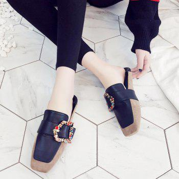 Square Color Diamond Belt Buckle Color Matching Leisure Soft Bottom Shoes - APRICOT 36
