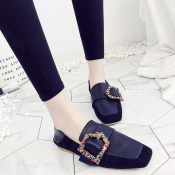 Square Color Diamond Belt Buckle Color Matching Leisure Soft Bottom Shoes - BLACK 37