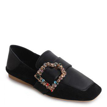 Square Color Diamond Belt Buckle Color Matching Leisure Soft Bottom Shoes - BLACK BLACK