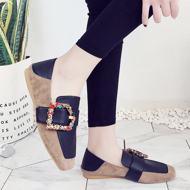 Square Color Diamond Belt Buckle Color Matching Leisure Soft Bottom Shoes - APRICOT 42