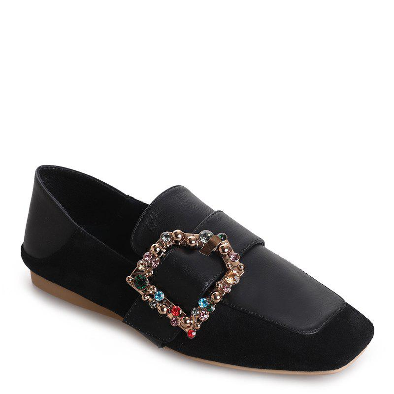 Square Color Diamond Belt Buckle Color Matching Leisure Soft Bottom Shoes - BLACK 35