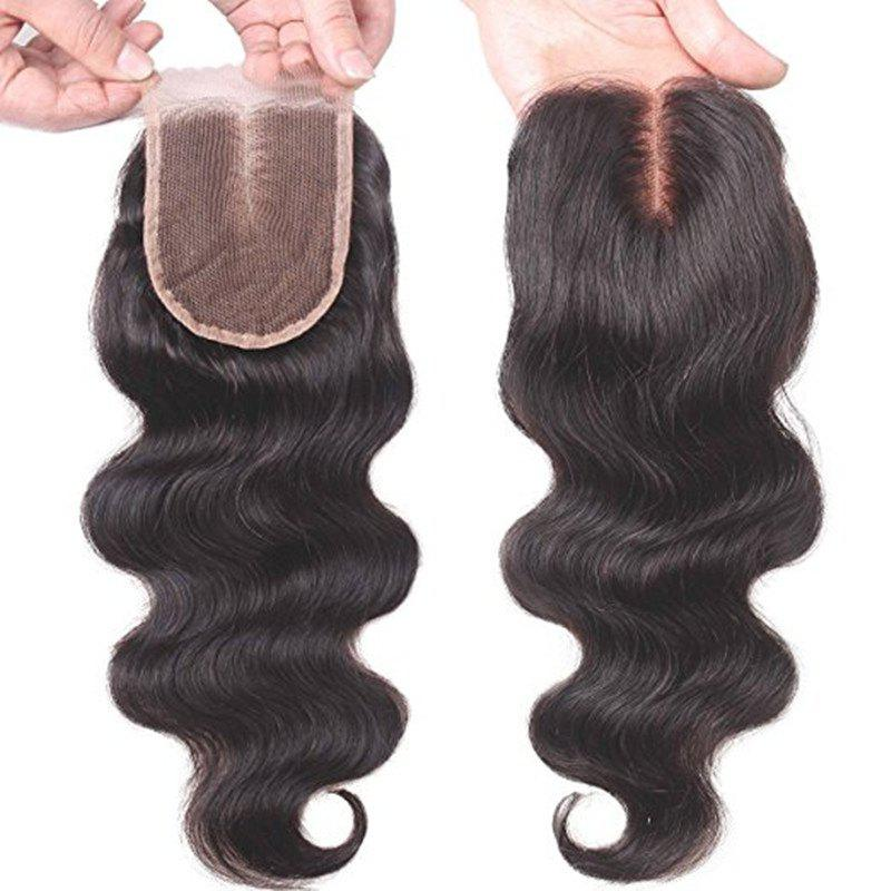 14 inch Middle Part Lace Closure Body Wave 130 Percent Density 4 x 4 Unprocessed Brazilian Virgin Remy Human Hair - BLACK 14INCH