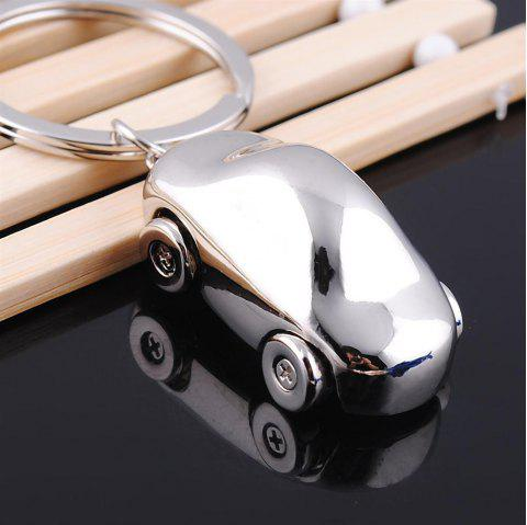 3D Simulation of the Classic Car Keychain Creative Gift Vintage Car Key Pendant Metal German Car - SILVER WHITE
