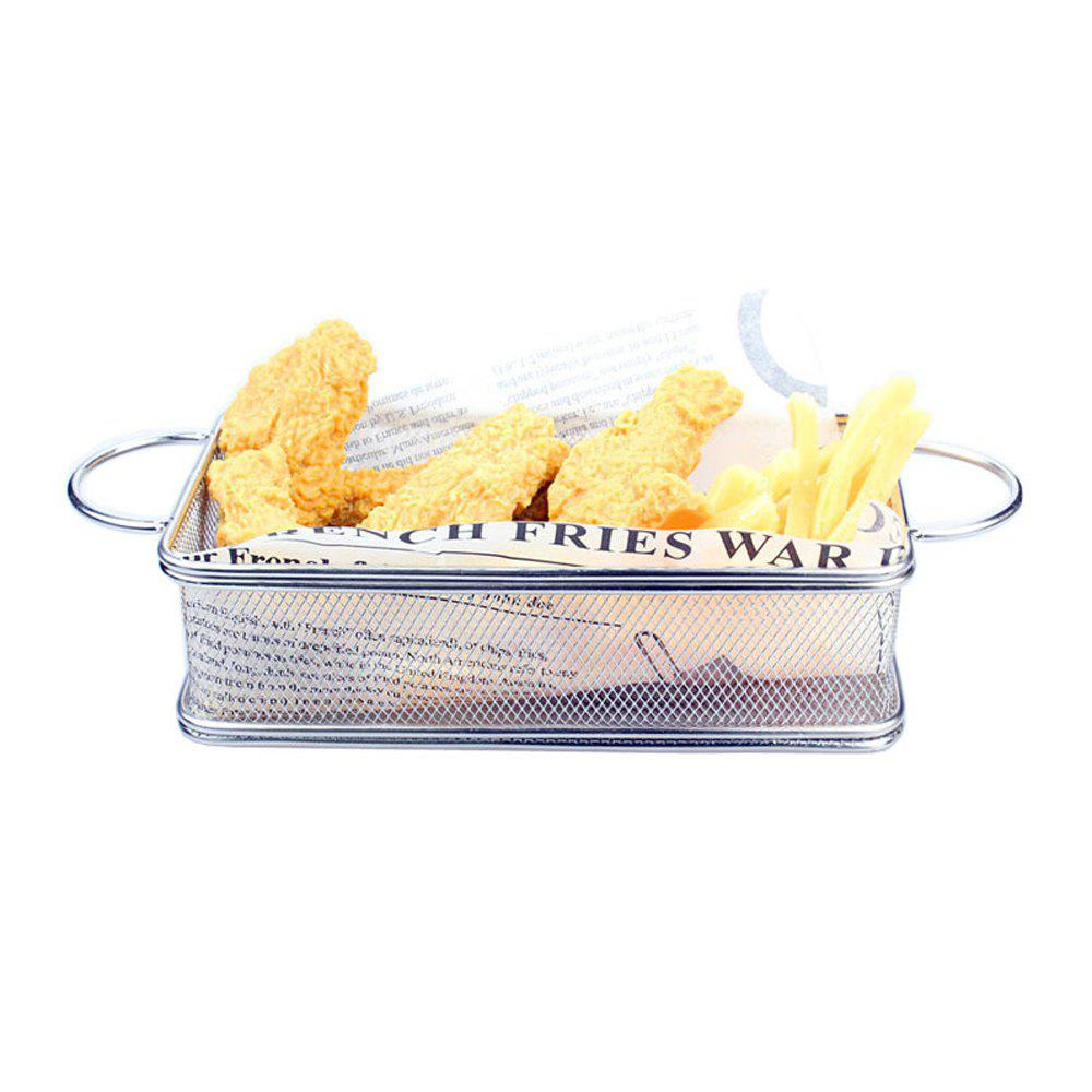 BBQ Bread Basket Fries Fried Chicken Fried Basket Stainless Steel Frying Basket Small Pastry Food - SILVER