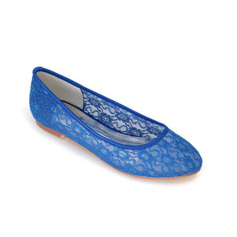Flat Lace Wedding Shoes - BLUE 38