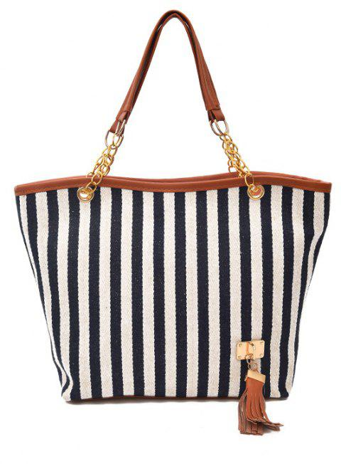 Large Capacity Canvas Stripes Tassel Pendant Handbag - BLUE