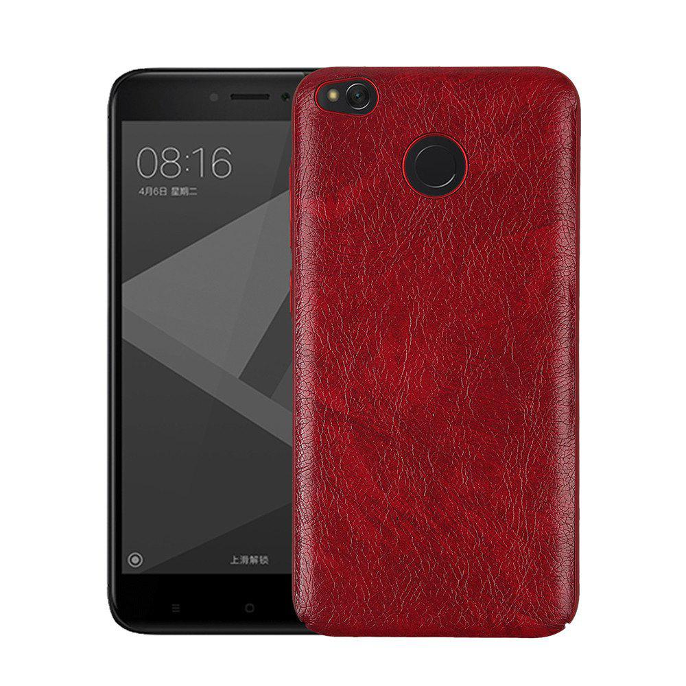 Cover Case for Redmi 4X Following From Crazy Ma Wen Leather Grain + PC - RED