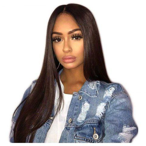 Long Straight Hair Synthetic Lace Front Wigs 180 Percent Density for Fashion Women - DEEP BROWN 24INCH