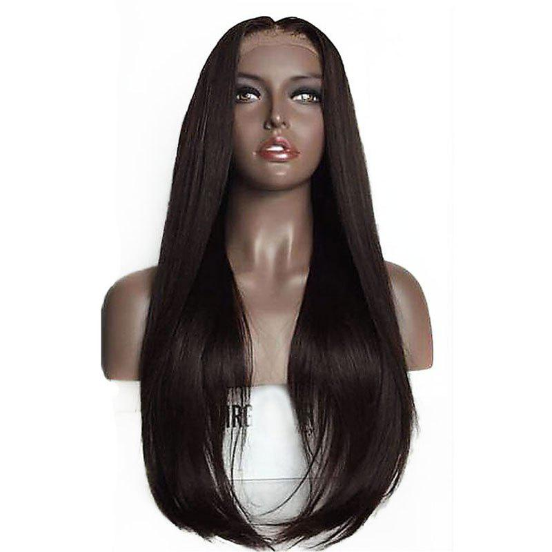 Long Straight Hair Synthetic Lace Front Wigs 180 Percent Density for Fashion Women - DEEP BROWN 26INCH