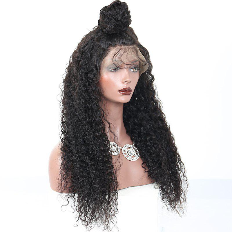 180 Density Long Kinky Curly Synthetic Lace Front Wig Natural Black Color with Baby Hair - NATURAL BLACK 26INCH