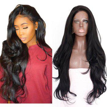 Natural Wavy Soft Fiber Hair Glueless Synthetic Lace Front Wig for Beauty Woman - NATURAL BLACK NATURAL BLACK