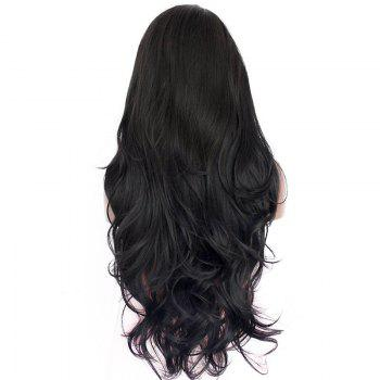 Natural Wavy Soft Fiber Hair Glueless Synthetic Lace Front Wig for Beauty Woman - NATURAL BLACK 24INCH