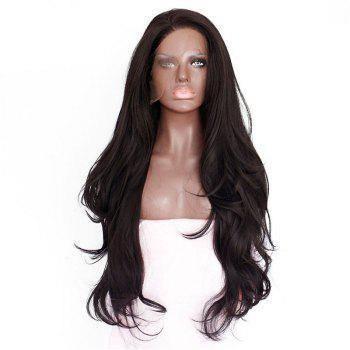 Natural Wavy Soft Fiber Hair Glueless Synthetic Lace Front Wig for Beauty Woman - DEEP BROWN 18INCH