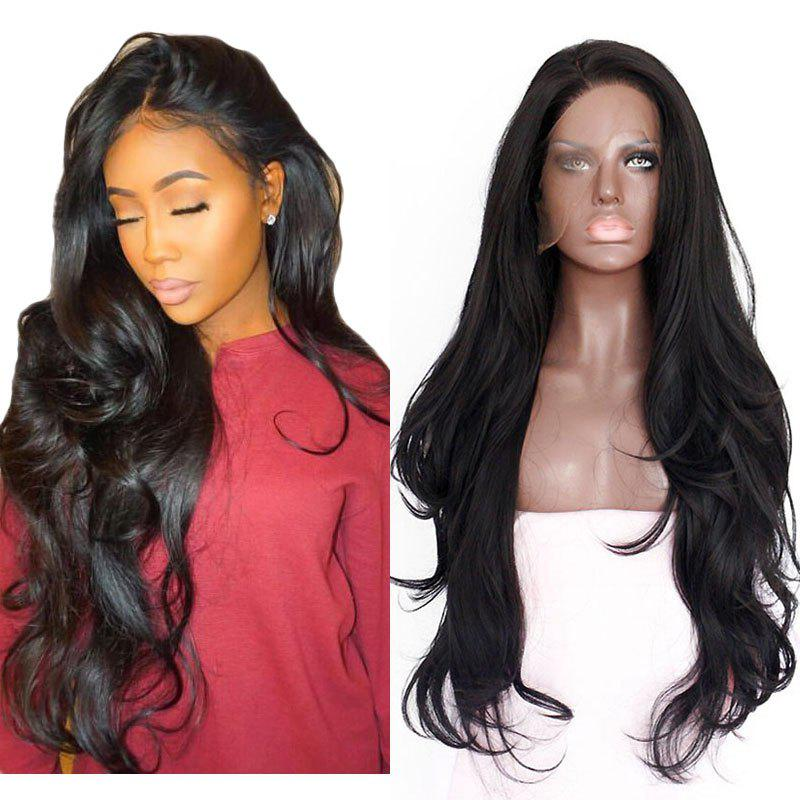 Natural Wavy Soft Fiber Hair Glueless Synthetic Lace Front Wig for Beauty Woman - NATURAL BLACK 22INCH