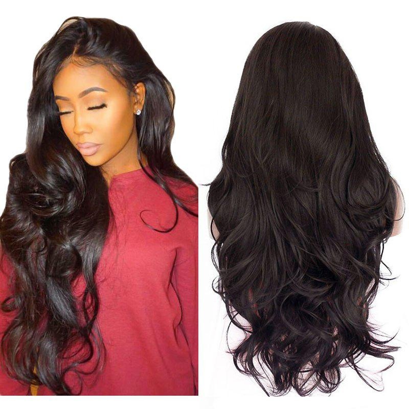 Natural Wavy Soft Fiber Hair Glueless Synthetic Lace Front Wig for Beauty Woman - DEEP BROWN 22INCH