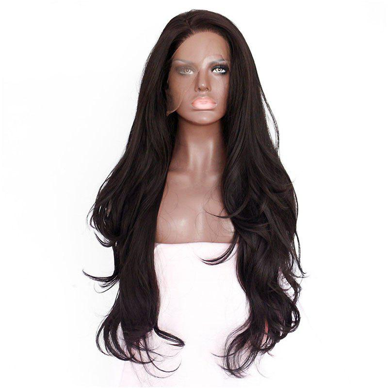 Natural Wavy Soft Fiber Hair Glueless Synthetic Lace Front Wig for Beauty Woman - DEEP BROWN 24INCH