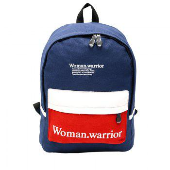 New Style Double Shoulder Canvas Upright Style Sport Zipper Student Backpack - DEEP BLUE DEEP BLUE