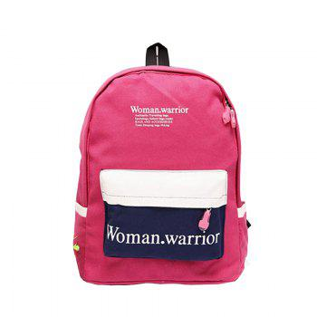 New Style Double Shoulder Canvas Upright Style Sport Zipper Student Backpack - ROSE RED ROSE RED