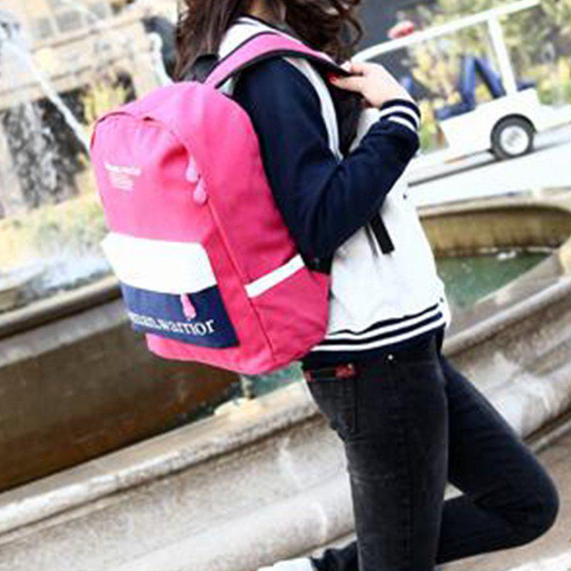 New Style Double Shoulder Canvas Upright Style Sport Zipper Student Backpack - ROSE RED