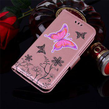 for Huawei P10 Lite butterfly PU Leather Wallet Flip Protective Case Cover with Card Slots and Stand - ROSE GOLD