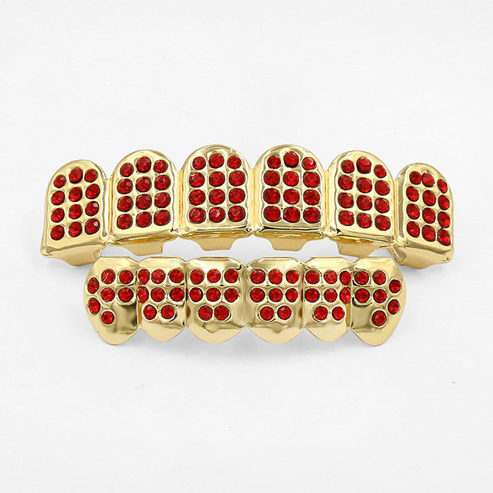 Hip Hop 18K Gold Plated Gold Classic Grillz - GOLD/RED