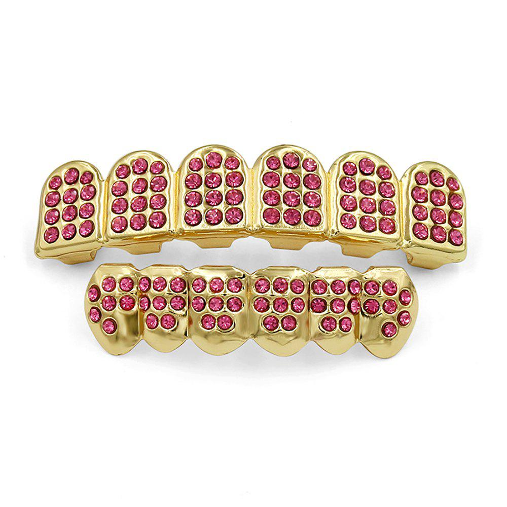 Hip Hop 18K Gold Plated Gold Classic Grillz - GOLD/PINK