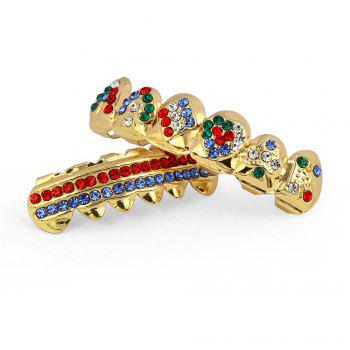 Hip Hop 18K Gold Plated Inlaid Colored D Teeth Grillz - COLORFUL