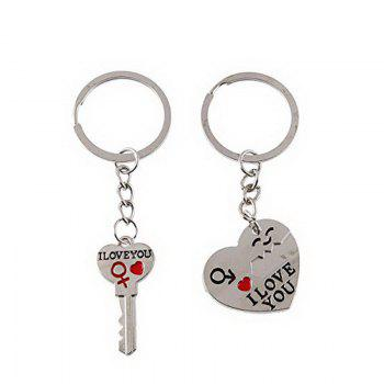 Couple I LOVE YOU Letter Keychain Heart Key Ring - SILVER SILVER