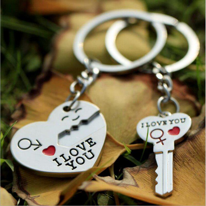 Couple I LOVE YOU Letter Keychain Heart Key Ring - SILVER