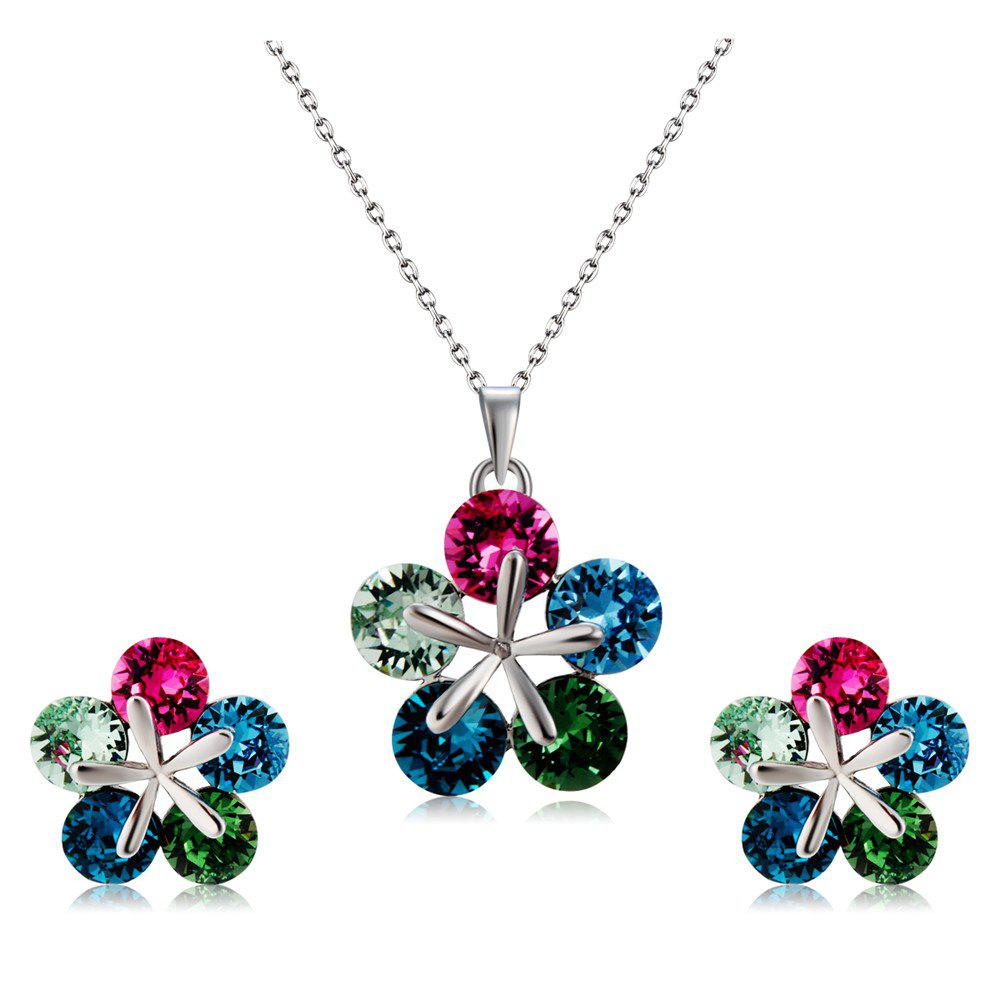 Colorful Crystal Petal Pendant Necklace Earring Set - SILVER