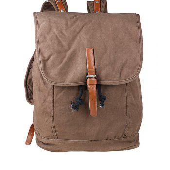 1Pc Canvas Backpack Travel Bags Student Laptop Bag - BROWNIE BROWNIE