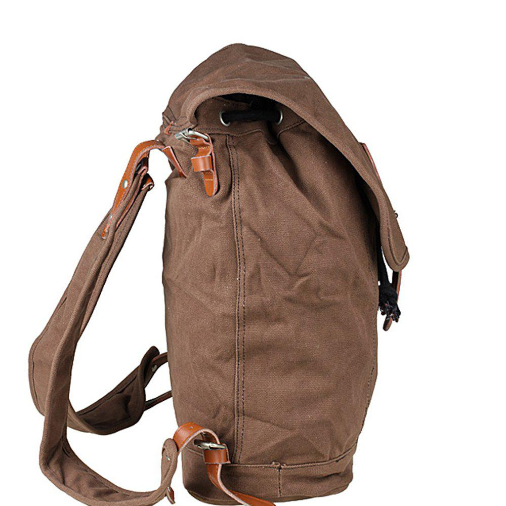 1Pc Canvas Backpack Travel Bags Student Laptop Bag - BROWNIE