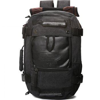 1Pc Canvas Mountaineering Backpack Sports and Casual Bags Travel Bag - BLACK BLACK