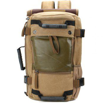 1Pc Canvas Mountaineering Backpack Sports and Casual Bags Travel Bag - KHAKI KHAKI