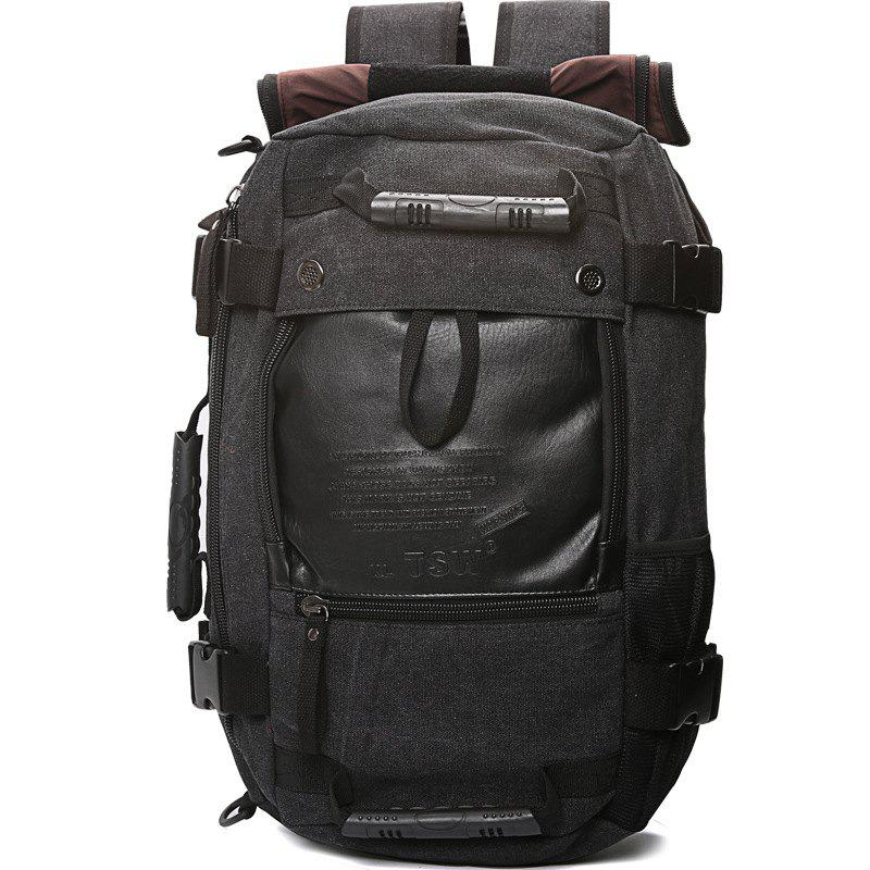 1Pc Canvas Mountaineering Backpack Sports and Casual Bags Travel Bag - BLACK